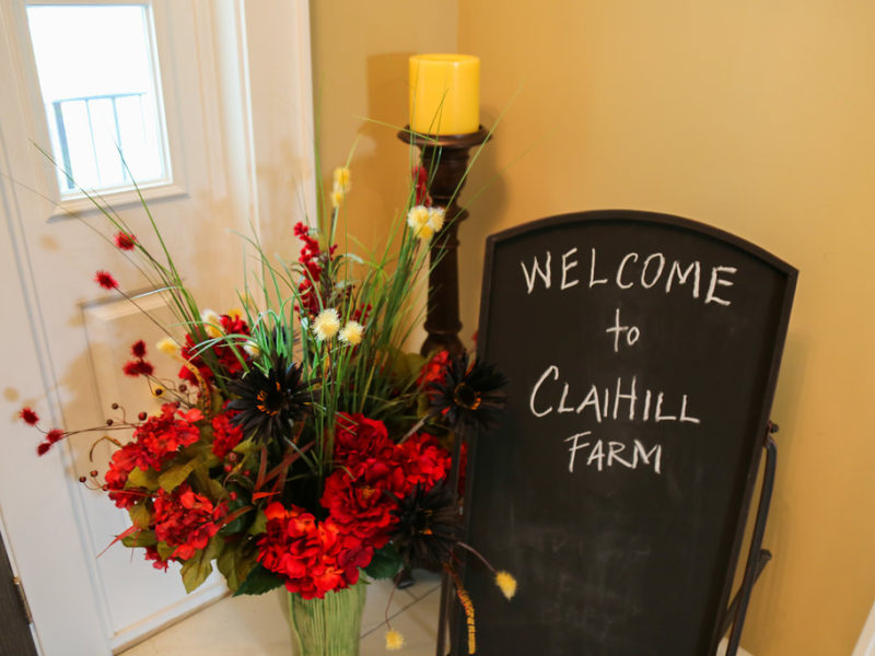 claihill farm inside welcome sign
